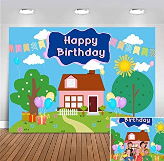 Colorful Photo Background Cartoon Tree House Children Kids Photo Booth Studio Props Vinyl Baby Shower Supplies Boys Girls Happy 3rd Birthday Banner 5x3ft Gift Table Photography Backdrop