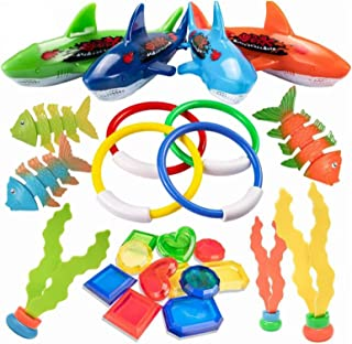 AM ANNA 26 PCS Diving Toy for Pool Use Underwater Swimming/Diving Pool Toy Rings, Toypedo Bandits,Stringy Octopus and Divi...