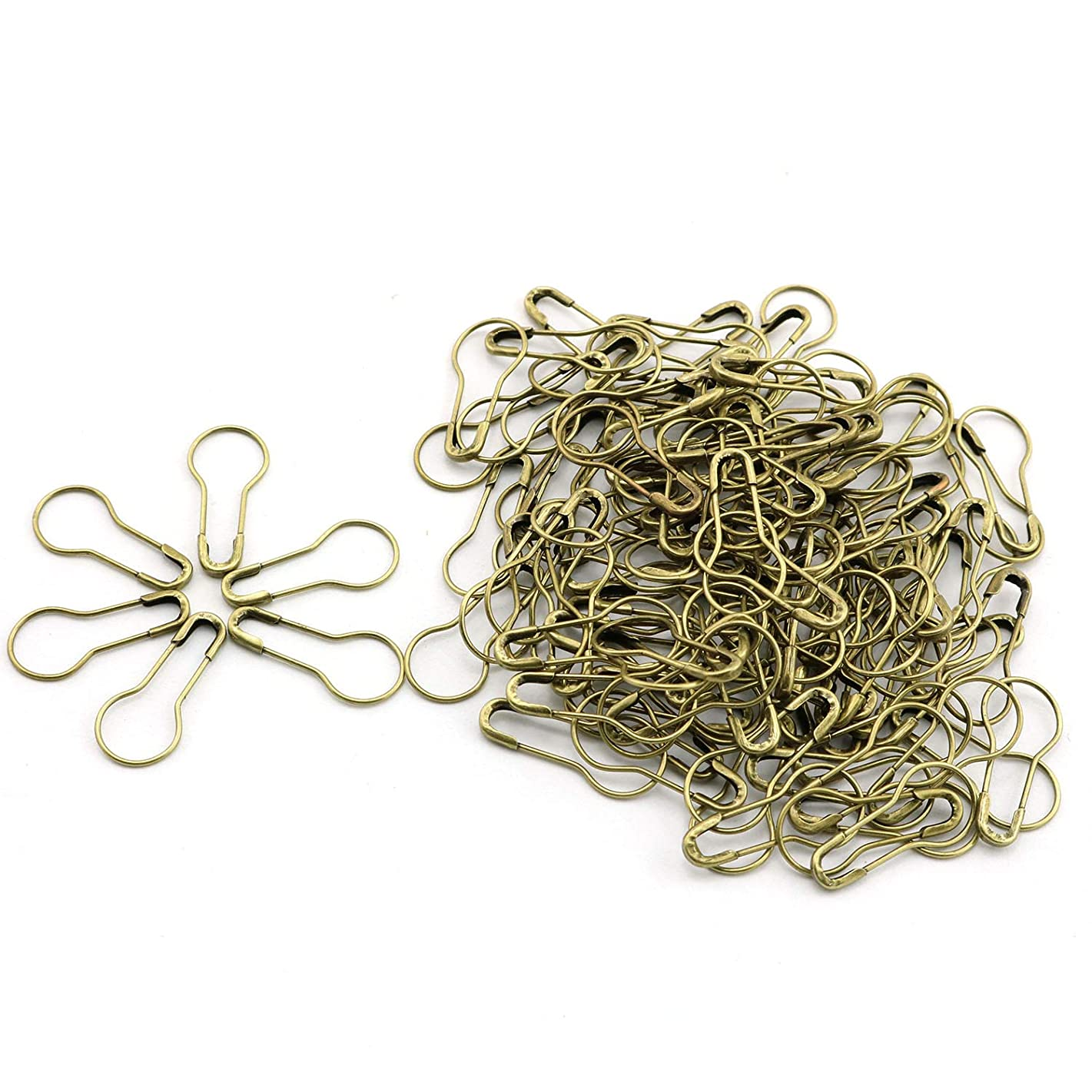120pcs 21mm Safety Pins Metal Gourd Shape Knitting Cross Stitch Marker DIY Clothing Kits Tag Pins Bronze