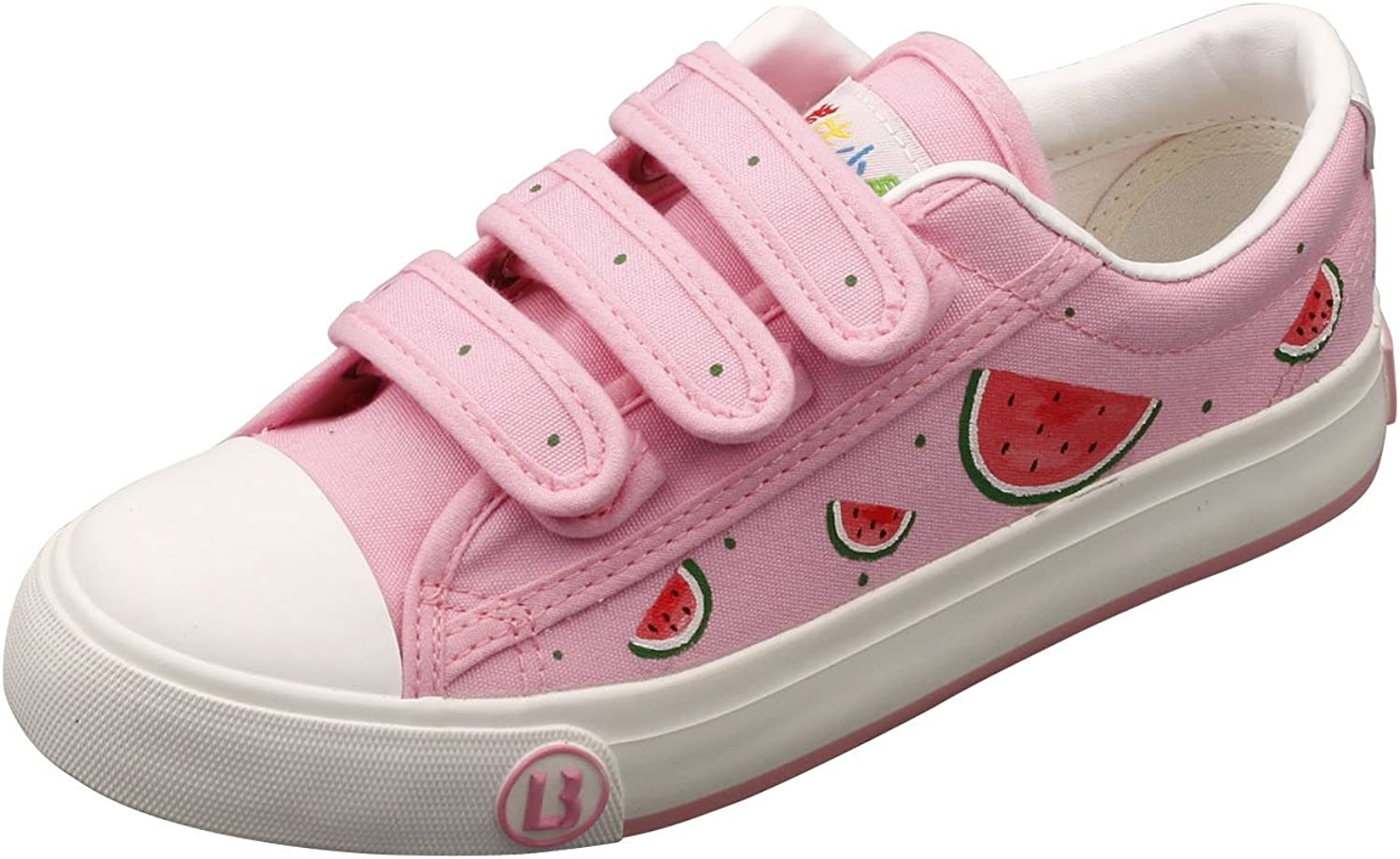 E-LOV Pink Watermelon Hand-Painted Canvas shoes Low Cut Sneakers Hook and Loop Strap Personalized Casual shoes for Women and Men