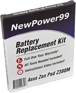 NewPower99 Battery Replacement Kit with Battery, Video Instructions and Tools for Asus ZenPad Z380M