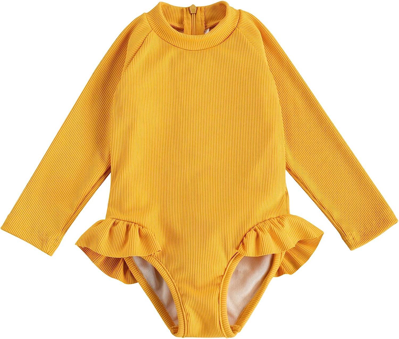Karuedoo Baby Girls One Piece Swimsuit Zip Rash Guard Swimwear Ruffled Long Sleeve Bathing Suit: Clothing, Shoes & Jewelry