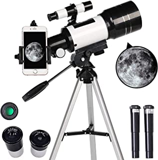 AZOD Telescope, 70mm Aperture 400mm Mount Astronomical Refracting Telescope Adjustable Portable Travel Telescopes with Bac...