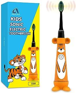 Sonic Kids Cepillos de dientes eléctricos para niños pequeños, cepillo de dientes con accionamiento para niños y cabezales de cepillo suave Contiene una batería para niños a partir de 3 años