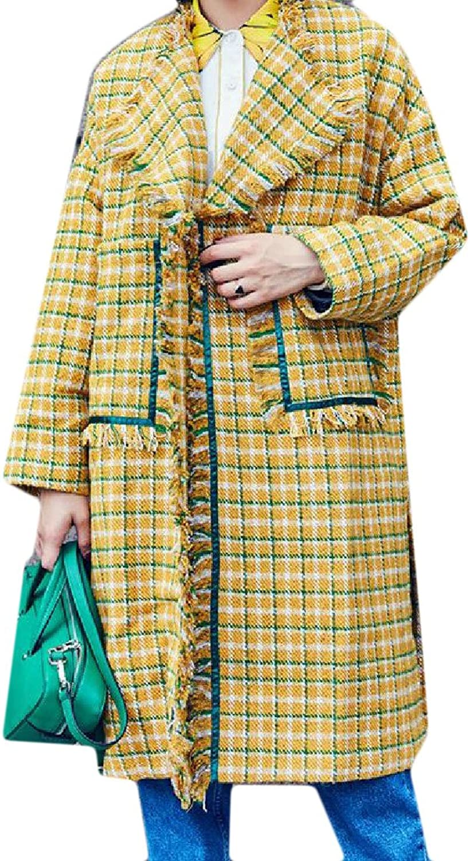 CoolredWomen Pockets 1 Button Lapel Plaid Tassel Woolen Overcoat