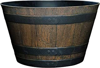 """Classic Home and Garden S1027D-037Rnew Whiskey Barrel Planter, 20.5"""", 2020 Kentucky Walnut"""