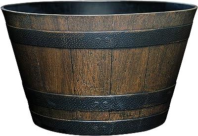 "Classic Home and Garden S1027D-037R Whiskey Barrel Planter, 20.5"", Kentucky Walnut"