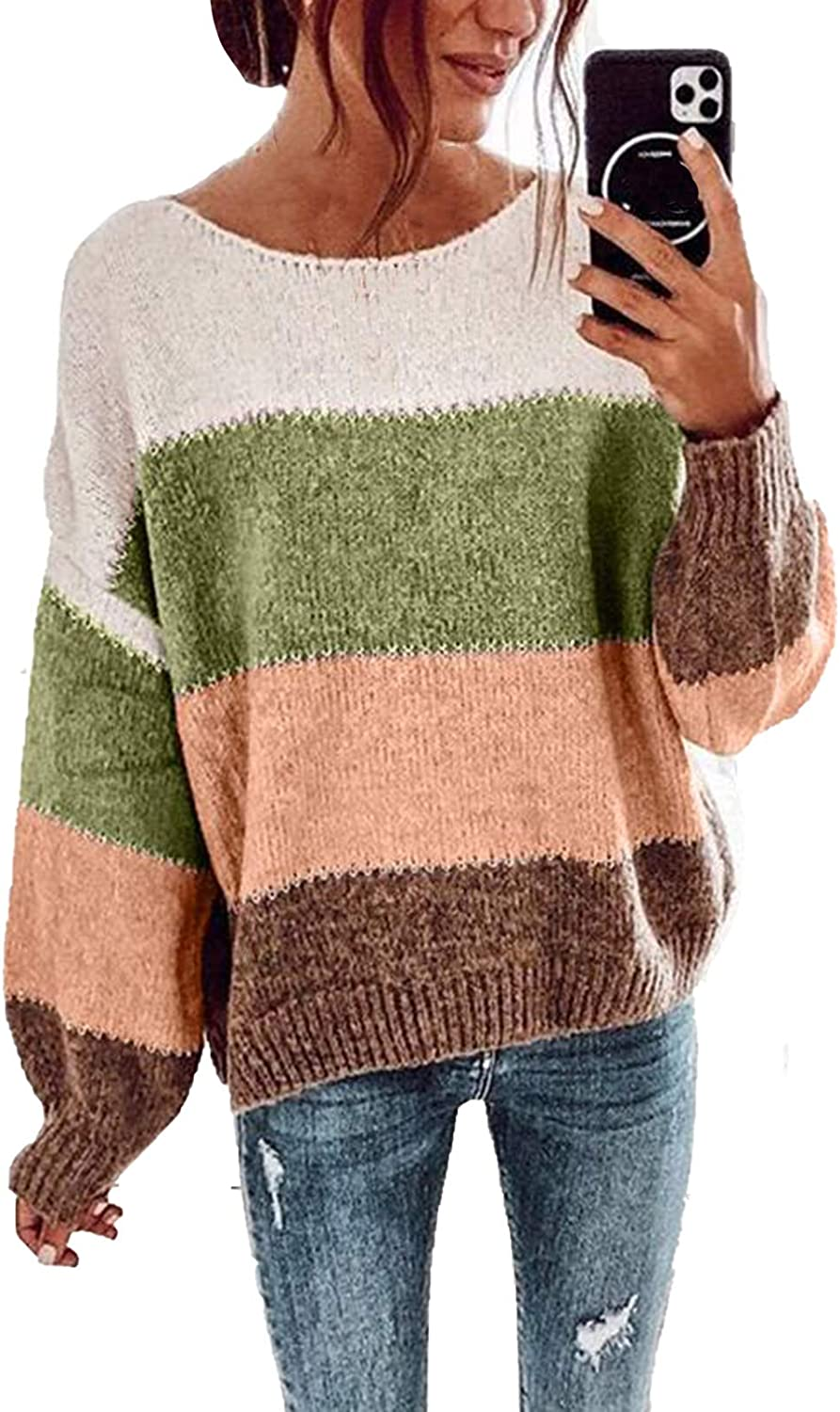Wommen's Long Sleeve Boat Neck Colorblock Knitted Pullover Sweater Loose Jumper Sweaters