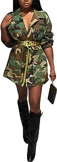 Womens Casual Military Camouflage Longline Jacket Safari Jacket Without Belt