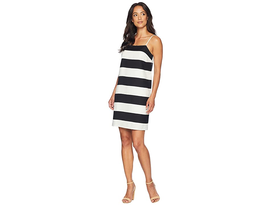 CeCe Spaghetti Stap Carnival Stripe Shift Dress (Rich Black) Women
