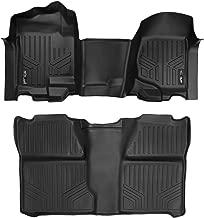 MAXLINER Floor Mats 2 Row Liner Set Black for 2007-2013 Silverado/Sierra 1500-2007-2014 Silverado/Sierra 2500/3500 HD Crew Cab