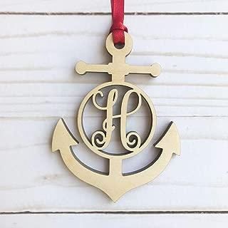 Monogram Anchor Wood Ornament - Letter H