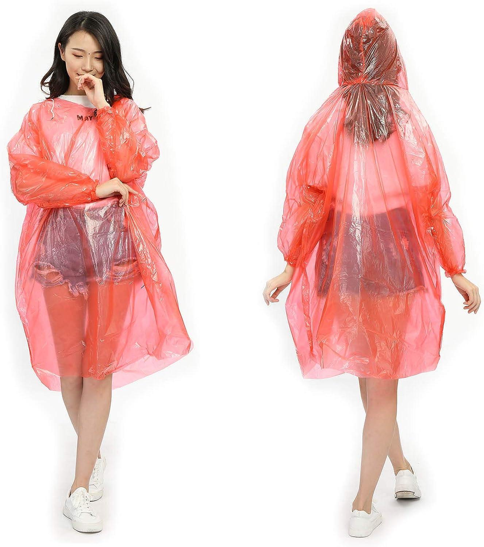 Portable Lightweight Rainwear for Men /& Women Elastic Cuff Emergency Raincoat with Drawstring Hood 10 Pack Clear Theme PE Plastic Waterproof Rain Gear Travel Kit NewSight Disposable Poncho