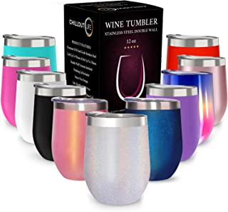 CHILLOUT LIFE 12 oz Stainless Steel Tumbler with Lid & Gift Box | Wine Tumbler Double Wall Vacuum Insulated Travel Tumbler Cup for Coffee, Wine, Cocktails, Ice Cream - Holographic Sparkle Tumbler