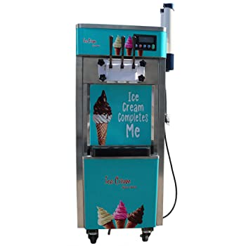 Commercial 110V 3Flavor Soft Ice Cream Cooling Making Machine 20-30L/H Standing Type(Ite#210051)