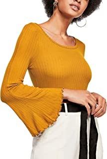 Women's Bell Sleeve Crew Neck T-Shirt Stretchable Ribbed Knit Tops 0076