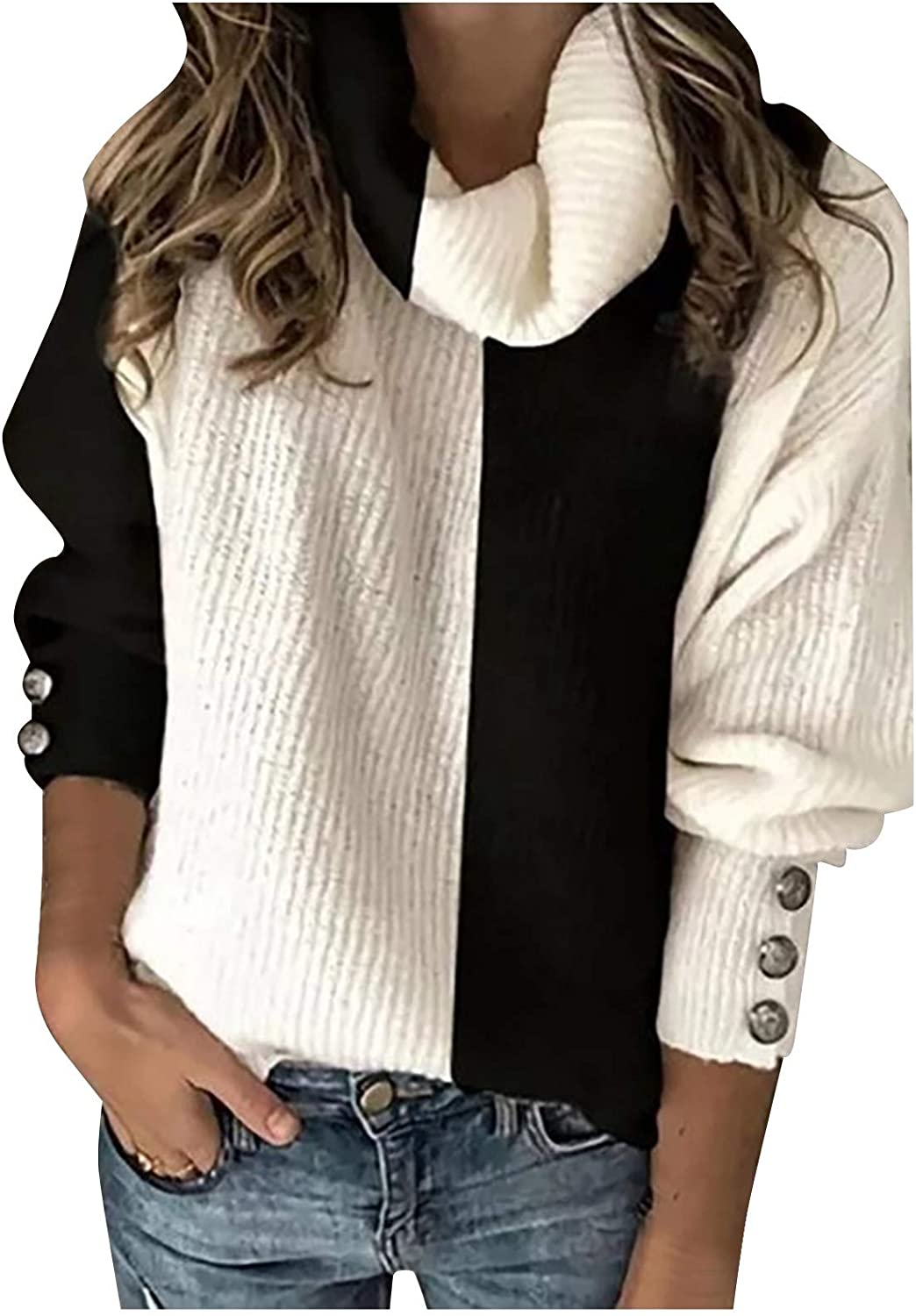 FABIURT Sweaters for Women, Womens Fashion Turtleneck Color Block Knitted Sweater Pullover Long Sleeve Casual Blouse Tops