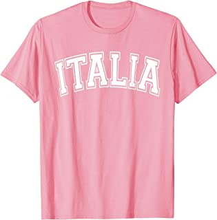Italia Varsity Style Pink with White Text T-Shirt