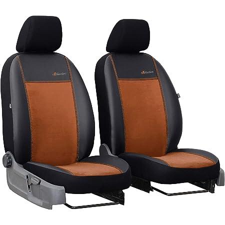 2er Set Saferide Autositzbezüge Transporter Universal Bus Sitzbezüge Kunstleder Braun Für Airbag Geeignet Für Vordersitze 1 1 Autositze Vorne Auto