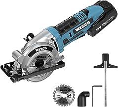 Wesco - Mini sierra circular de mano con batería de 18 V y 2,0 Ah, hoja de sierra TCT de 85 mm, profundidad de corte de 0 a 27 mm (90°), 2300 rpm, con batería, cargador y adaptador de vacío