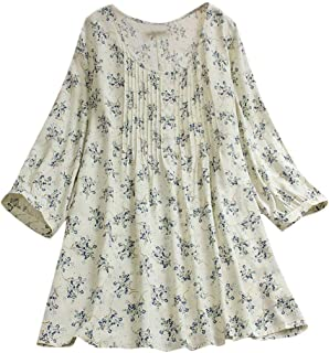 Women Loose Shirt, Womens Short Sleeve Shirt Spring Summer Cotton Linen Top Blouse Plus Size Jumper Tunic