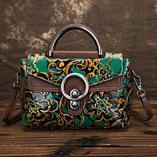 Fashion Leather Retro Handbag/Fashion Embossed Wiped Shoulder/Portable/Messenger Head Layer Cowhide Handbag (Color : Green)