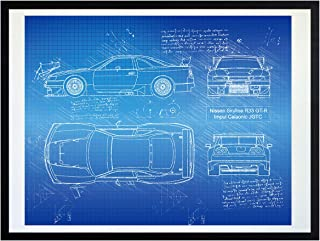 DolanPaperCo #531 Nissan Skyline R33 GT-R Impul Calsonic JGTC (1996) Art Print, da Vinci Sketch - Unframed - Multiple Size/Color Options (17x22, Blueprint)