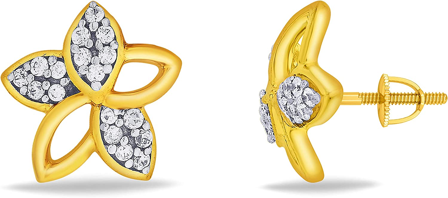 3djewels Women's 0.12Cts Round Simulated Diamond Quinate Bloom Earring 14K Yellow gold Plated