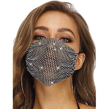 Barode Sparkly Rhinestone Mesh Mask Black Crystal Masquerade Mask Decorative Halloween Ball Party Nightclub Masks for Women and Girls