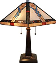 "Tiffany Style Table Lamp Banker Mission 23"" Tall Stained Glass Tan Blue Orange Brown Vintage Antique Light Décor Nightstan..."