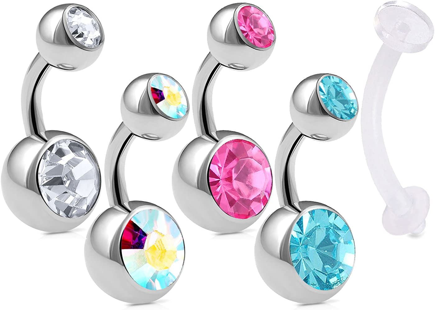 5Pcs Belly Button Surgical Steel 14g 1/4 6mm Short Navel Ring Ear Ball Bar Crystal And Retainer Lot Piercing - CL AB RO AQ