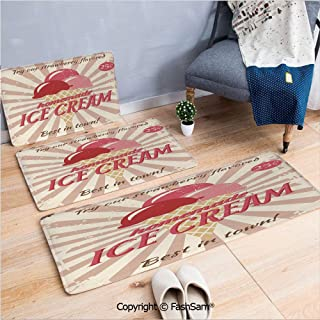 FashSam 3 Piece Non Slip Flannel Door Mat Vintage Sign with Homemade Ice Cream Best in Town Quote Print Decorative Indoor Carpet for Bath Kitchen(W15.7xL23.6 by W19.6xL31.5 by W17.7xL53)
