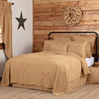 VHC Brands Burlap Star Bedding Accessory, Queen Coverlet 96x90, Natural Tan