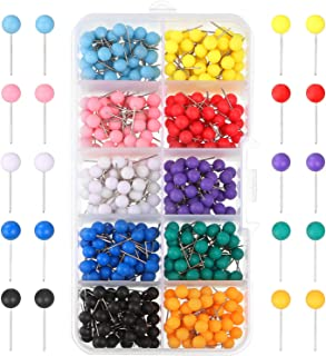 Outus Map Tacks Push Pins Plastic Head with Steel Point, 1/8 Inch, 500 Pieces (1/5 Inch)
