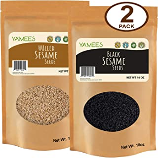 Yamees Sesame Seeds - Mix Sesame Seeds - Black Sesame Seeds - White Sesame Seeds - Sesame Seeds Bulk – Bulk Spices – 2 Pack of 10 Ounce Bags