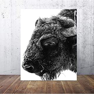 FBXNB Decorative Paintings Black and White Wild Yak Mountain Wall Art Canvas Poster Landscape Print Minimalist Nordic Decoration Painting Decorative Room