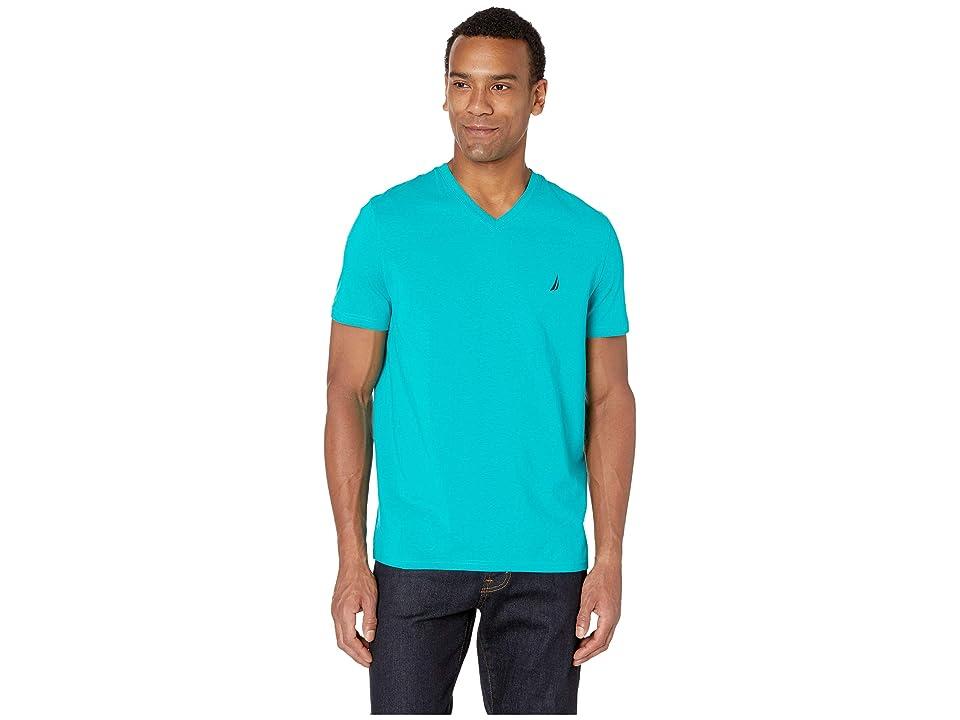 Nautica Short Sleeve Fashion Jersey V-Neck Tee (Gulf Coast Teal) Men