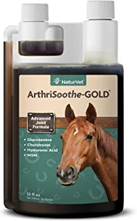 NaturVet ArthriSoothe-Gold Advanced Equine Glucosamine Joint Supplement Formula for Horses, Liquid, Made in The USA, 32 Ounce