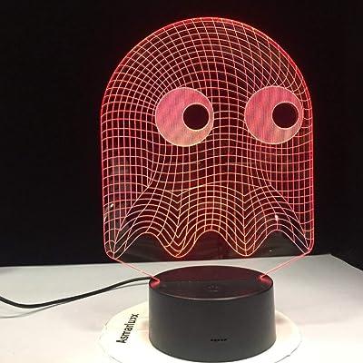 Juego de arcade Pac Man Blinky Ghost 3D Lámpara de noche LED Mesa 7 colores Iluminación cambiante Luz de noche de regalo para niños: Amazon.es: Iluminación