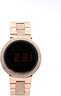 Iced Out Bling Unisex -Metal Band Smart Touch Screen LED Watch -Rose Gold