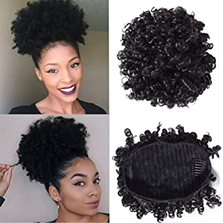 YIROO Small Afro Curly Human Hair Bun Ponytail Extensions 6 Inches Short Cute Curly Wrap Drawstring Puff Ponytails Hairpieces for Women with Clips Natural Color (6inch)