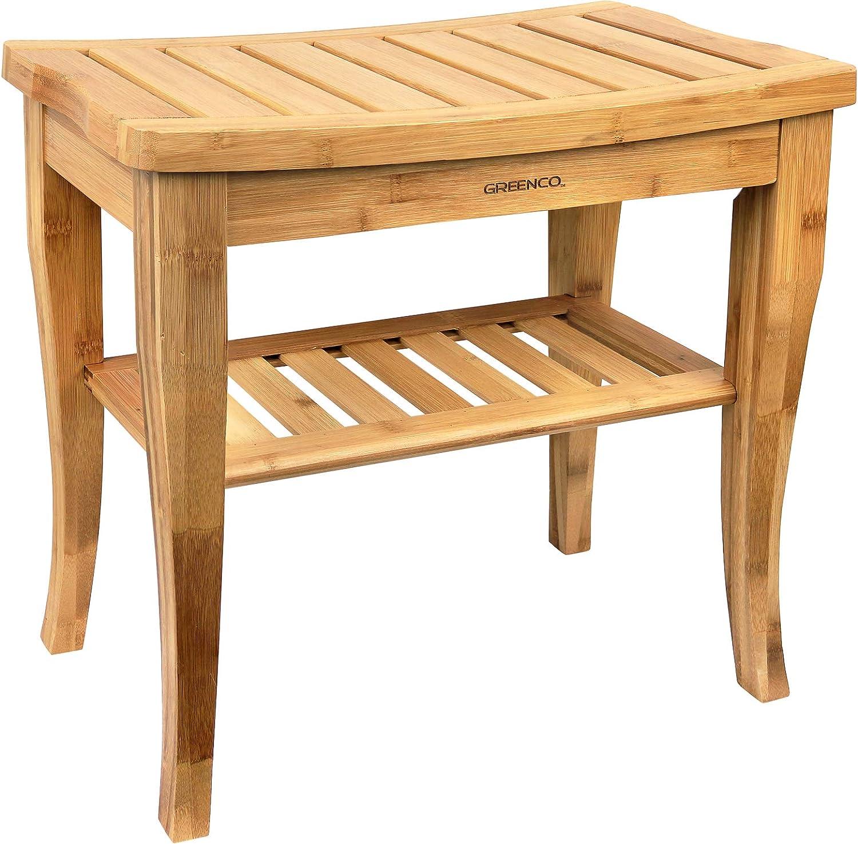 Greenco Waterproof Bamboo Shower Bench Shelf 55% OFF Spa with Elegant Ba Wooden