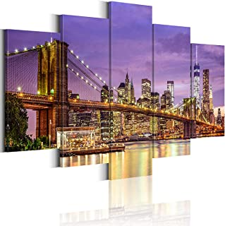 Brooklyn Bridge Wall Art Painting 5 Pieces New York Night Cityscape Canvas Print Picture Artwork for Office Bedroom Living...