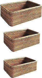 3 pcs, boîtes de rangement tissés à la main, paniers en osier en rotin rectangulaire, paniers à fruits, collations de piqu...