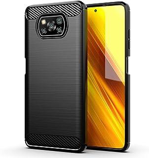 Xiaomi POCO X3 NFC ケース【YEZHU】 炭素繊維カバー TPU シリコン ケース 保護 軽量 弾力性付き衝撃吸収バンパー Xiaomi POCO X3 NFCケース 対応(ブラック)