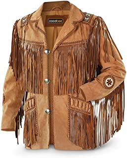 COCOBEE Genuine Cowboy Jackets Mens Western Real Suede Leather Jackets for Sale