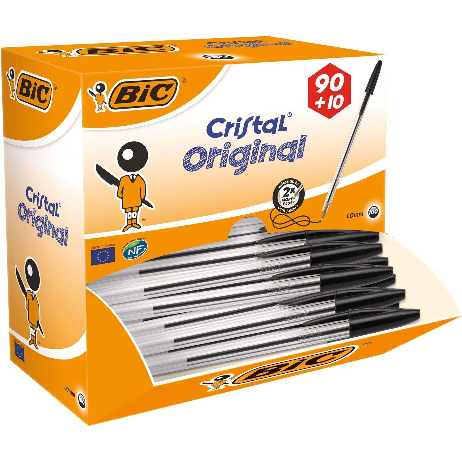 BiC Cristal medium - Bolígrafo de punta redonda, color transparente, caja de 100 unidades: Amazon.es: Oficina y papelería