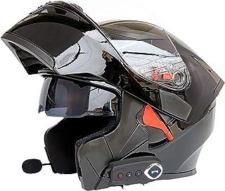 Casque de Moto Bluetooth pour Adulte Casques de Moto Anti-bu/ée /à Double lentille Casque de Motocross avec Casque de Moto Hors Route FM