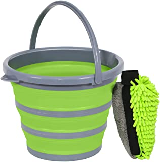 GreatCool Car Wash Collapsible Bucket with 3-in-1 Car Wash Mitt, Coral Velvet + Weave + Chenille Microfiber Glove Sponge, 10L (2.6 Gallon) Portable Folding Basin Pail for Car Household Cleaning