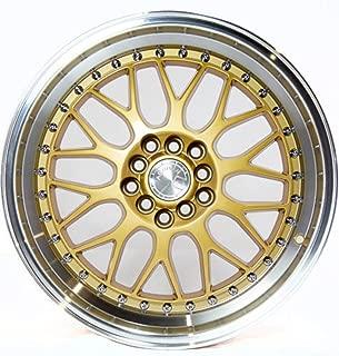 AodHan AH02 Wheel - Gold Machined Lip: 17x8 Wheel Size; 5x100/114.3 Lug Pattern; 73.1mm Hug Bore; 35mm Off Set.